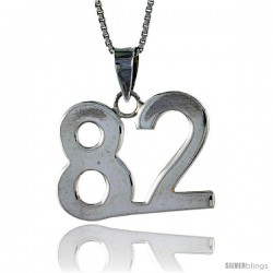 Sterling Silver Digit Number 82 Pendant 3/4 in. (18 mm)