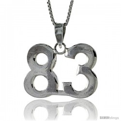Sterling Silver Digit Number 83 Pendant 3/4 in. (18 mm)