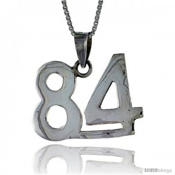Sterling Silver Digit Number 84 Pendant 3/4 in. (18 mm)