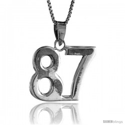 Sterling Silver Digit Number 87 Pendant 3/4 in. (18 mm)