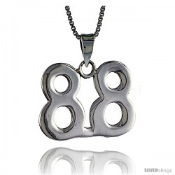 Sterling Silver Digit Number 88 Pendant 3/4 in. (18 mm)