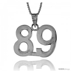 Sterling Silver Digit Number 89 Pendant 3/4 in. (18 mm)