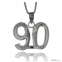 Sterling Silver Digit Number 90 Pendant 3/4 in. (18 mm)