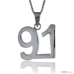 Sterling Silver Digit Number 91 Pendant 3/4 in. (18 mm)