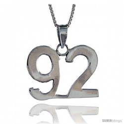 Sterling Silver Digit Number 92 Pendant 3/4 in. (18 mm)