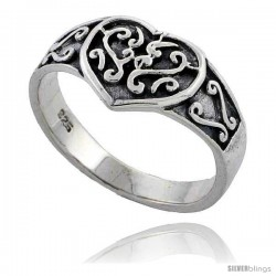 Sterling Silver Celtic Knot Heart Ring 3/8 wide