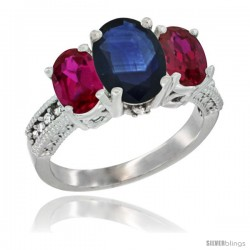 14K White Gold Ladies 3-Stone Oval Natural Blue Sapphire Ring with Ruby Sides Diamond Accent