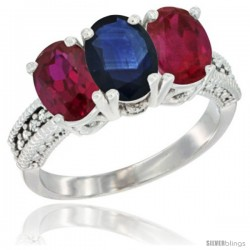 14K White Gold Natural Blue Sapphire & Ruby Sides Ring 3-Stone Oval 7x5 mm Diamond Accent