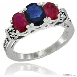14K White Gold Natural Blue Sapphire & Ruby Ring 3-Stone Oval with Diamond Accent