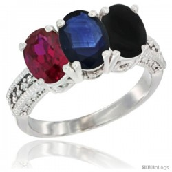 14K White Gold Natural Ruby, Blue Sapphire & Black Onyx Ring 3-Stone Oval 7x5 mm Diamond Accent