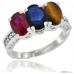 14K White Gold Natural Ruby, Blue Sapphire & Tiger Eye Ring 3-Stone Oval 7x5 mm Diamond Accent