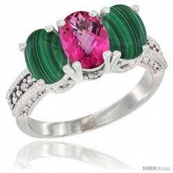 10K White Gold Natural Pink Topaz & Malachite Sides Ring 3-Stone Oval 7x5 mm Diamond Accent