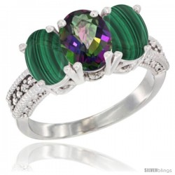 10K White Gold Natural Mystic Topaz & Malachite Sides Ring 3-Stone Oval 7x5 mm Diamond Accent