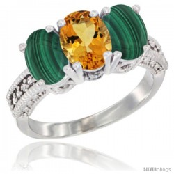 10K White Gold Natural Citrine & Malachite Sides Ring 3-Stone Oval 7x5 mm Diamond Accent