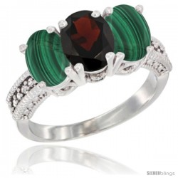 10K White Gold Natural Garnet & Malachite Sides Ring 3-Stone Oval 7x5 mm Diamond Accent