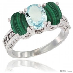 10K White Gold Natural Aquamarine & Malachite Sides Ring 3-Stone Oval 7x5 mm Diamond Accent
