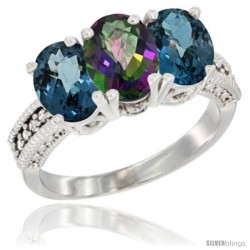 14K White Gold Natural Mystic Topaz & London Blue Topaz Sides Ring 3-Stone 7x5 mm Oval Diamond Accent