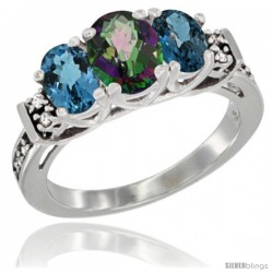 14K White Gold Natural Mystic Topaz & London Blue Ring 3-Stone Oval with Diamond Accent