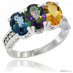14K White Gold Natural London Blue Topaz, Mystic Topaz & Citrine Ring 3-Stone 7x5 mm Oval Diamond Accent