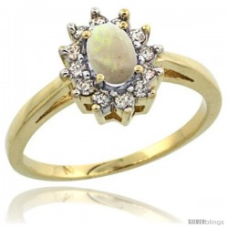 10k Yellow Gold Opal Diamond Halo Ring Oval Shape 1.2 Carat 6X4 mm, 1/2 in wide