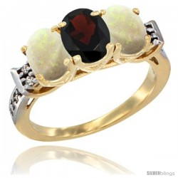10K Yellow Gold Natural Garnet & Opal Sides Ring 3-Stone Oval 7x5 mm Diamond Accent