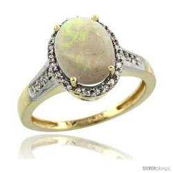 10k Yellow Gold Diamond Opal Ring 2.4 ct Oval Stone 10x8 mm, 1/2 in wide