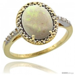 10k Yellow Gold Diamond Opal Ring 2.4 ct Oval Stone 10x8 mm, 1/2 in wide -Style Cy920111