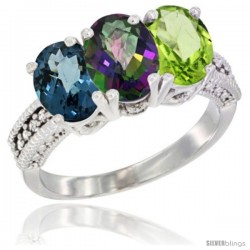 14K White Gold Natural London Blue Topaz, Mystic Topaz & Peridot Ring 3-Stone 7x5 mm Oval Diamond Accent