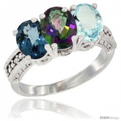 14K White Gold Natural London Blue Topaz, Mystic Topaz & Aquamarine Ring 3-Stone 7x5 mm Oval Diamond Accent