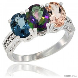 14K White Gold Natural London Blue Topaz, Mystic Topaz & Morganite Ring 3-Stone 7x5 mm Oval Diamond Accent