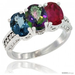 14K White Gold Natural London Blue Topaz, Mystic Topaz & Ruby Ring 3-Stone 7x5 mm Oval Diamond Accent