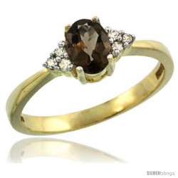 14k Yellow Gold Ladies Natural Smoky Topaz Ring oval 6x4 Stone Diamond Accent