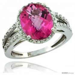 Sterling Silver Diamond Halo Natural Pink Topaz Ring 2.85 Carat Oval Shape 11X9 mm, 7/16 in (11mm) wide