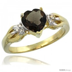 14k Yellow Gold Ladies Natural Smoky Topaz ring Heart shape 7x7 Stone Diamond Accent