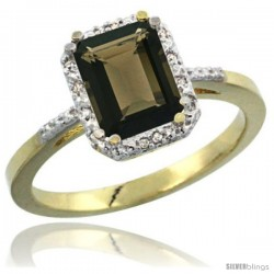 14k Yellow Gold Ladies Natural Smoky Topaz Ring Emerald-shape 8x6 Stone Diamond Accent