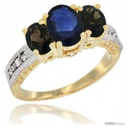 14k Yellow Gold Ladies Oval Natural Blue Sapphire 3-Stone Ring with Smoky Topaz Sides Diamond Accent