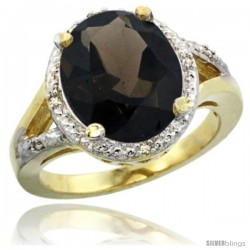 14k Yellow Gold Ladies Natural Smoky Topaz Ring oval 12x10 Stone Diamond Accent