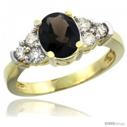 14k Yellow Gold Ladies Natural Smoky Topaz Ring oval 9x7 Stone Diamond Accent
