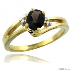 14k Yellow Gold Ladies Natural Smoky Topaz Ring oval 6x4 Stone Diamond Accent -Style Cy407165