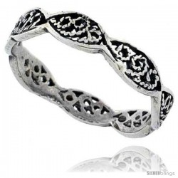 Sterling Silver Swirl Filigree Wedding Band Ring, 1/8 in wide -Style Tr550