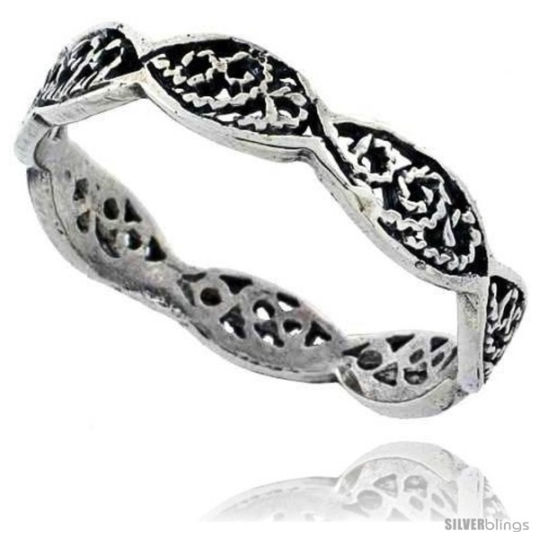 sterling silver swirl filigree wedding band ring 1 8 in