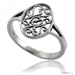 Sterling Silver Oval Celtic Ring 1/2 in wide