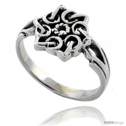 Sterling Silver Celtic Mandala Symbol Ring 1/2 in wide
