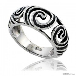 Sterling Silver Swirl Design Dome Ring 5/16 in wide