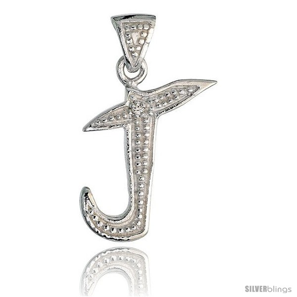 Sterling silver fancy initial letter j initial pendant cz stone 34 undefined aloadofball Image collections