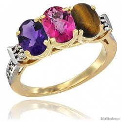10K Yellow Gold Natural Amethyst, Pink Topaz & Tiger Eye Ring 3-Stone Oval 7x5 mm Diamond Accent