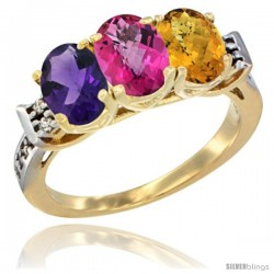 10K Yellow Gold Natural Amethyst, Pink Topaz & Whisky Quartz Ring 3-Stone Oval 7x5 mm Diamond Accent