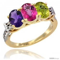 10K Yellow Gold Natural Amethyst, Pink Topaz & Lemon Quartz Ring 3-Stone Oval 7x5 mm Diamond Accent
