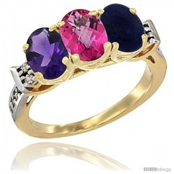 10K Yellow Gold Natural Amethyst, Pink Topaz & Lapis Ring 3-Stone Oval 7x5 mm Diamond Accent