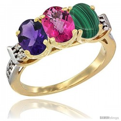 10K Yellow Gold Natural Amethyst, Pink Topaz & Malachite Ring 3-Stone Oval 7x5 mm Diamond Accent